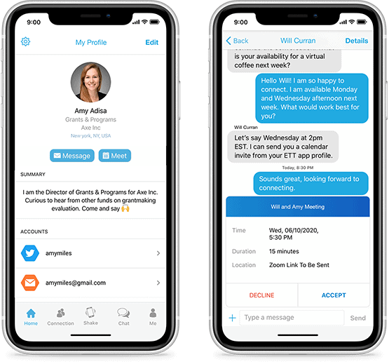 Image of 2 cellphones showing a profile of one participant and a chat message between 2 participants within the event platform